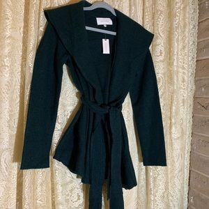NWT Anthropology green sweater trench coat.